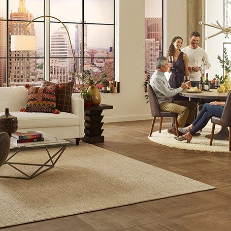 Friends hanging out on Area rug in Whippany, NJ | Everlast Floors